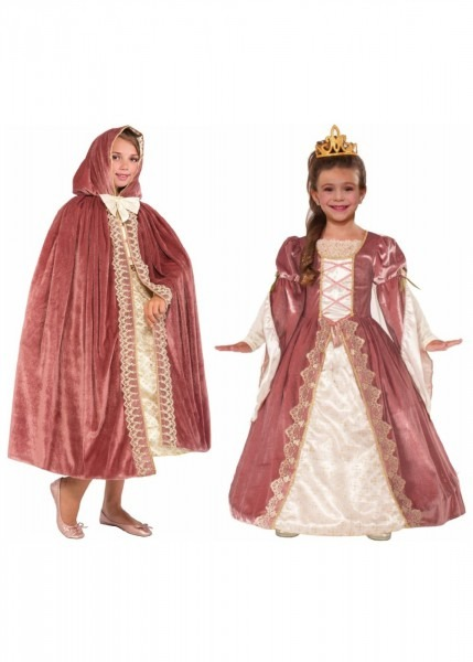 Victorian Rose Princess Girls Costume And Hooded Cape Set
