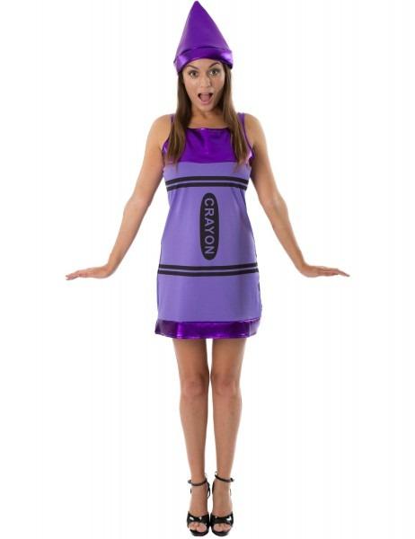 Women 039;s Purple Crayon Fancy Dress Costume Jokers Masquerade