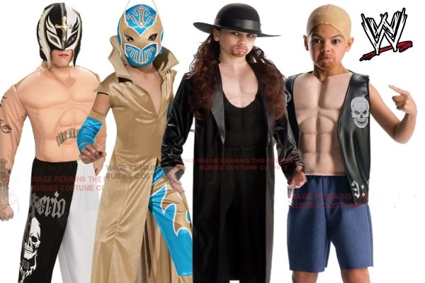 Child Wwe Wrestling Fancy Dress Costume Kids Muscle Chest Outfit