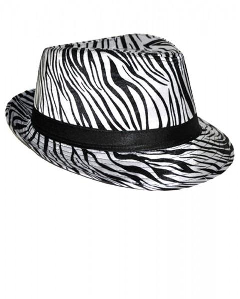 Zebra Print Satin Fedora Hat