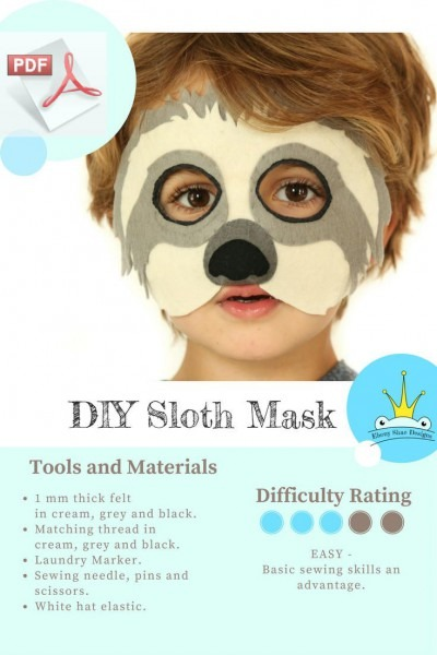 Sloth Mask Pattern  Kids Sloth Costume Sewing Pattern