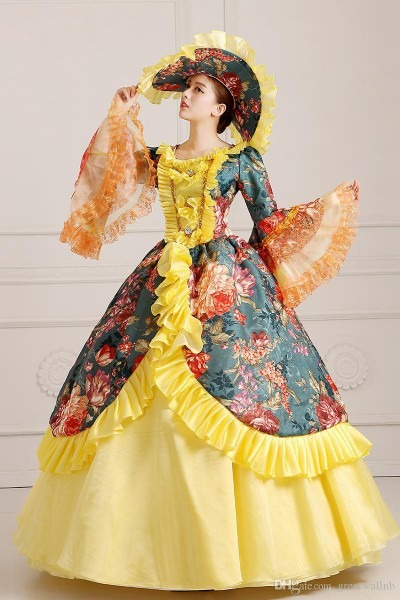 100 Real Printing Ruffled Ball Gown With Hat Medieval Renaissance