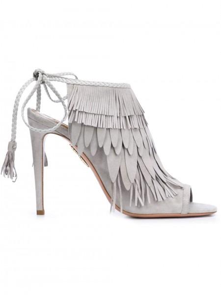 Aquazzura Pocahontas Sandals Light Grey Women Shoes,aquazzura Wild