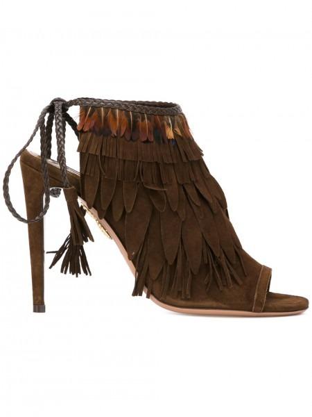 Aquazzura Christy Sale, Aquazzura Pocahontas Sandals Brown Women