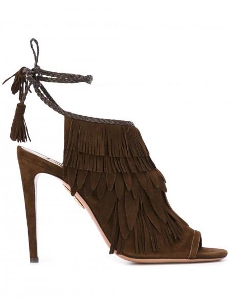 Aquazzura Pocahontas Sandals Brown Women Shoes,aquazzura Firenze