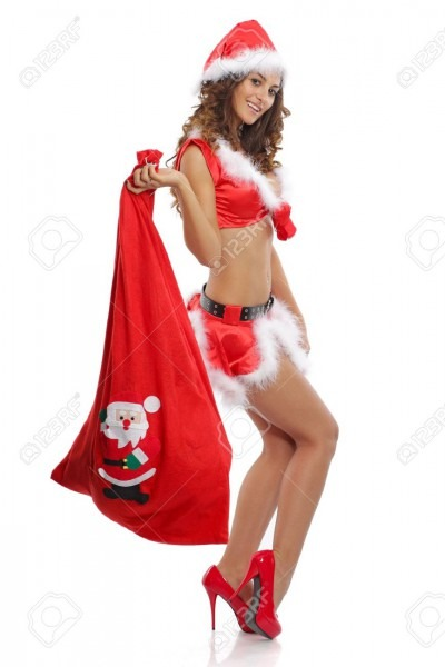 Sexy Women Wearing A Sexy Santa Outfit Stock Photo, Picture And
