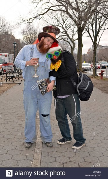 2 Hasidic Jewish Men In Costume For The Purim Holiday In The Crown