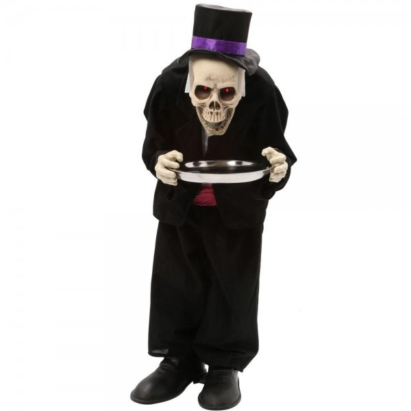 Animated Bobblehead Skeleton Butler Prop 3ft