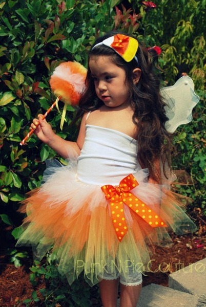 Couture Candy Corn Fairy Tutu Halloween Costume Birthday 5 Piece