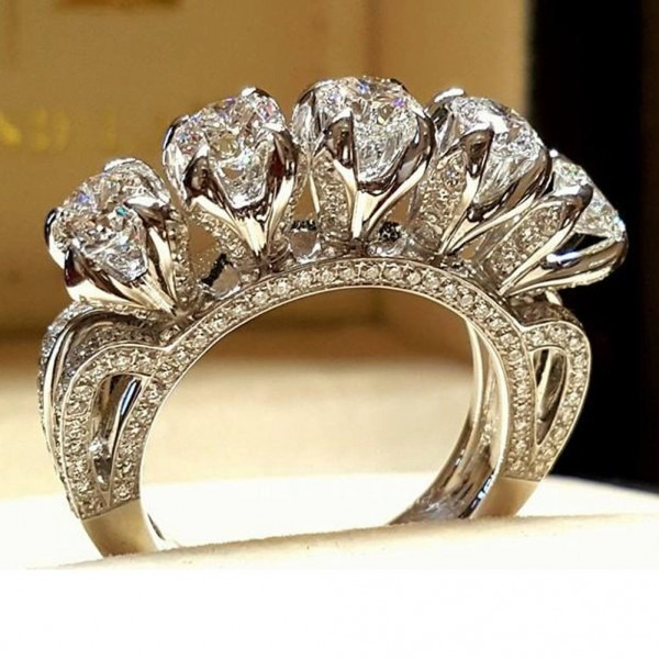 3 5 Ct Princess Channel Engagement Ring Wedding Band Solid Costume