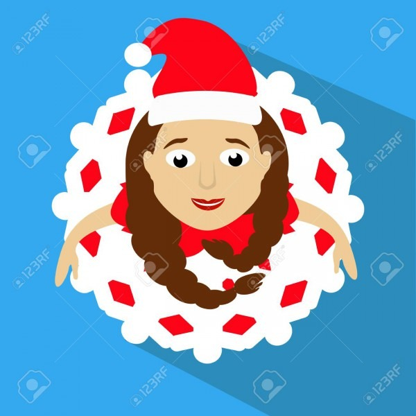 The Girl Mrs  Santa Claus In A Red Cap  The Top View, Looks Up