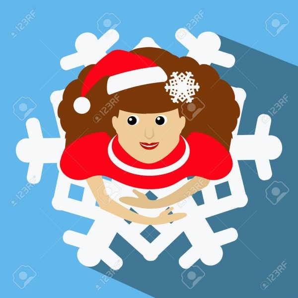 The Girl Mrs  Santa Claus In A Red Cap With A Snowflake In A