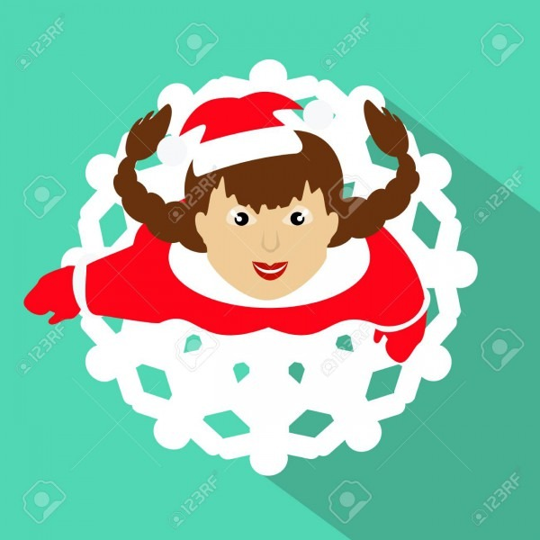 Girl Mrs  Santa Claus  The Top View, Looks Up  A Skirt In A Look