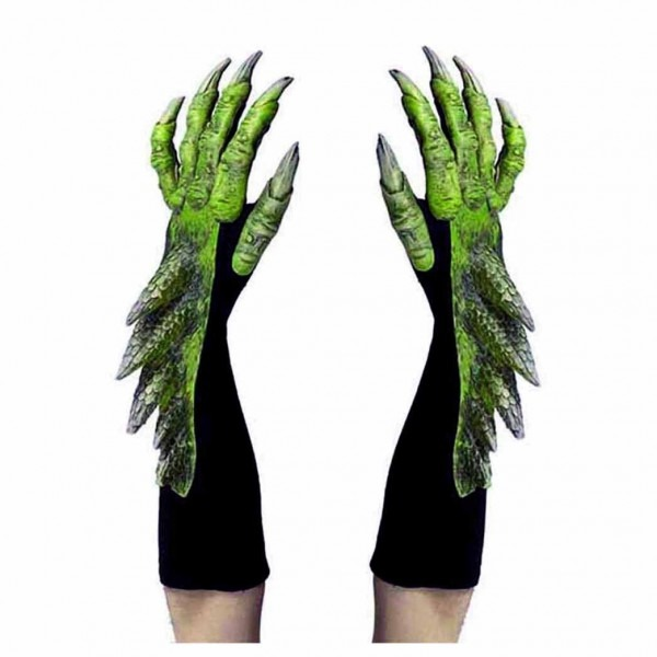 Gloves 155348  Green Dragon Alien Reptile Claws Hands Cosplay