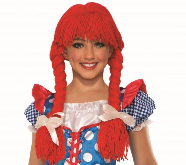 Classic Rag Doll Wig Red Braids Pig Tails Child Costume Halloween