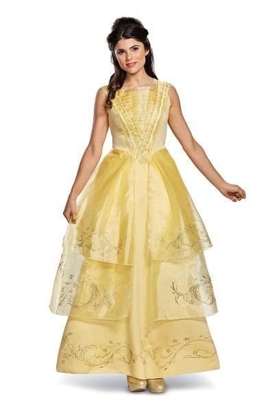Amazon Com  Disney Women's Belle Ball Gown Deluxe Adult Costume