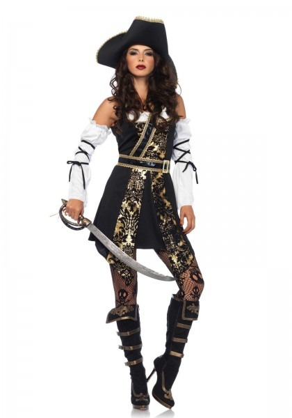 Ca81 Leg Avenue Black Sea Buccaneer Pirate Womens Fancy Dress