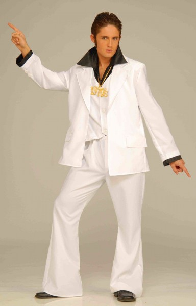Mens Disco Costume White Jacket Pants Suit Bell Bottom 70s Man