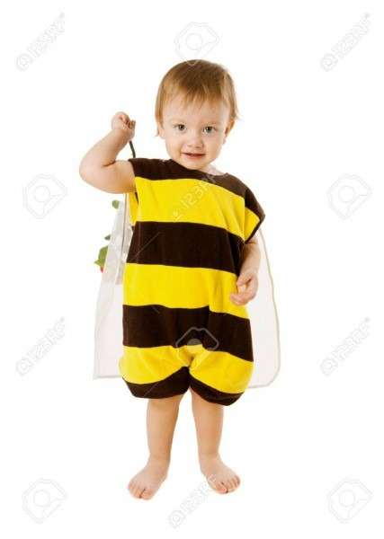 Toddler Boy Wearing Bee Costume Isolated On White Stock Photo