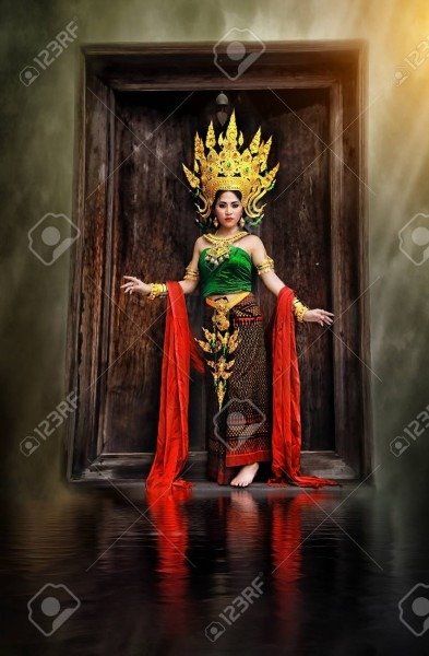 Thai Costume Beautiful Women, Khon Thai Costume, Asian Women