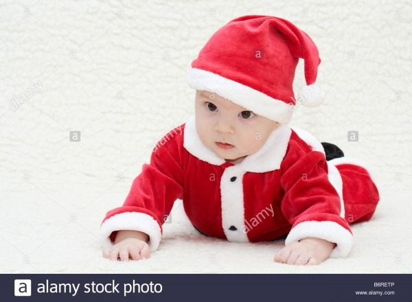 Baby In Santa's Suit Stock Photo  21414870