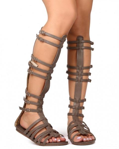 Shoes Betani Ek22 Women Leatherette Open Toe Criss Cross Knee High