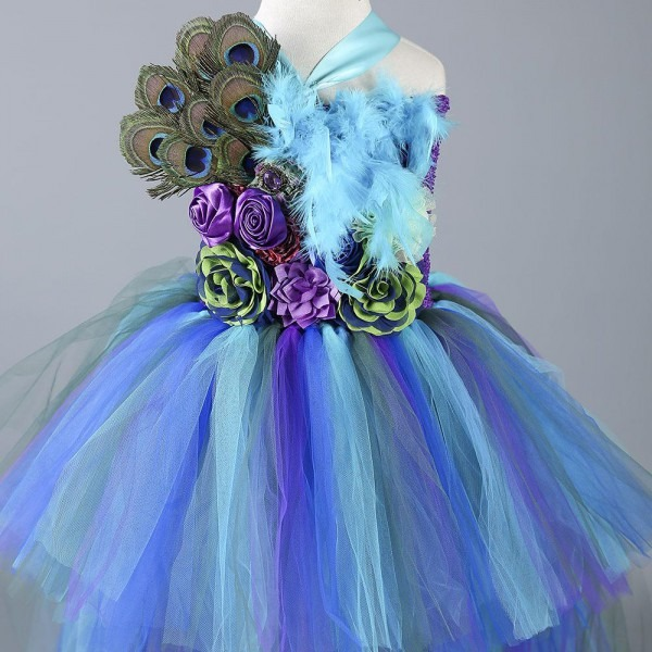 2019 Boutique Peacock Costume Feather Flower Girl Party Dress