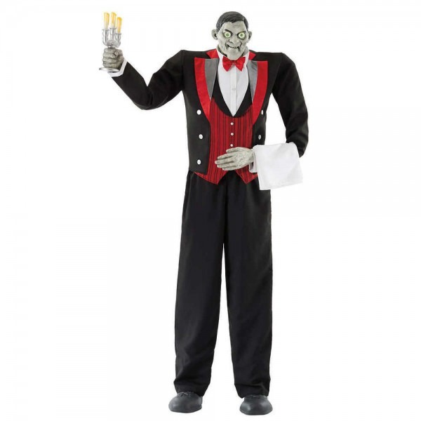 Lifesize 7ft Animated Butler Halloween Prop New See Video  Seasons