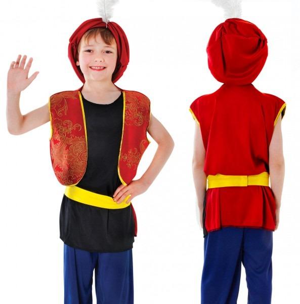 Childrens Kids Arabian Boy Fancy Dress Costume Aladdin Sultan