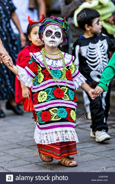 Children Parade In Costumes Celebrating The Day Of The Dead