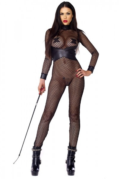 Dominant Fishnet Faux Leather Sexy Intimates Catsuit