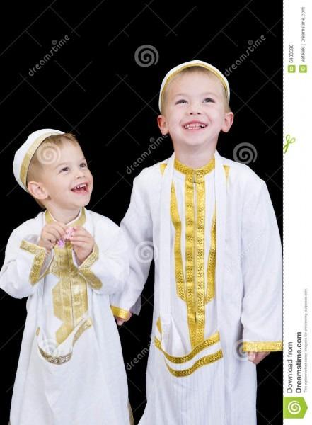 Cute Boys With Traditional Arabian Dress Stock Photo