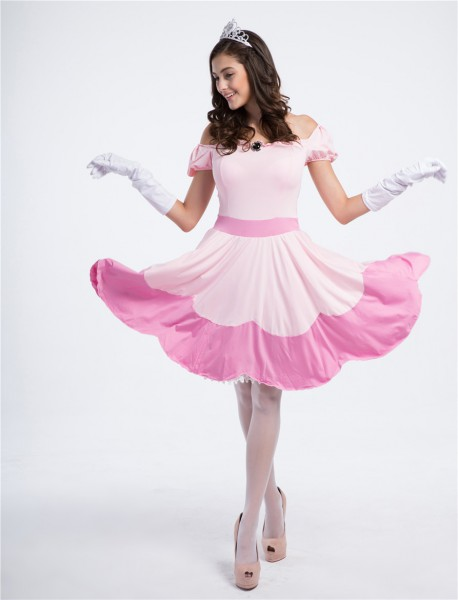 Deluxe Halloween Adult Princess Peach Fancy Dress Women Princess