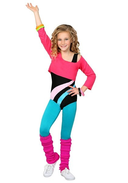 Child 80's Workout Girl Fancy Dress Costume X