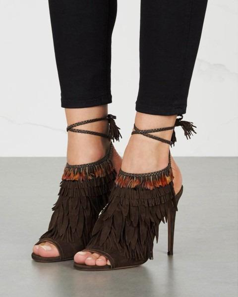 Aquazzura Pocahontas Fringed Suede Sandals