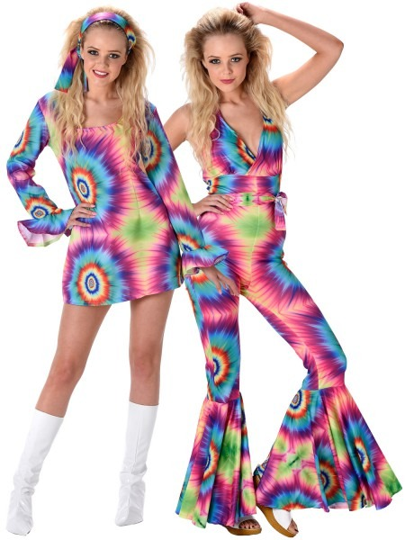 Ladies 60s 70s Hippie Costume Adults Hippy Fancy Dress Jumpsuit
