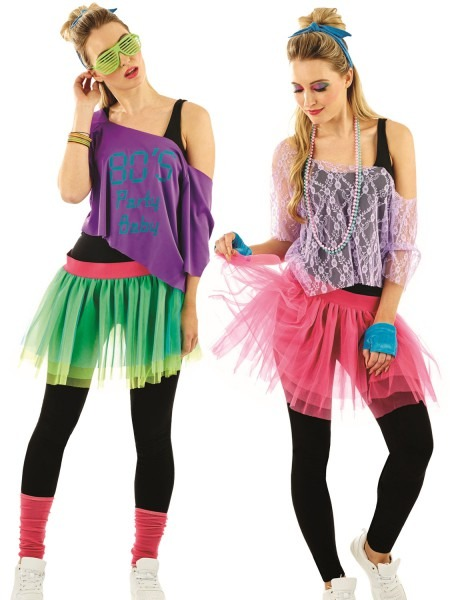 Ladies 1980s Tutu Kit Adults Neon Disco Fancy Dress Womens 80s