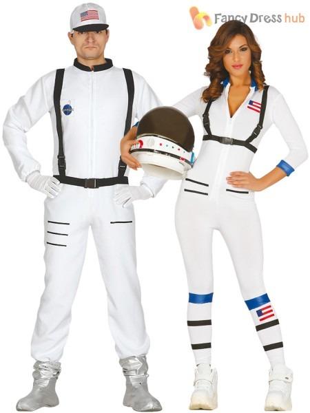 Adults Astronaut Costume Mens Ladies Space Man Suit Fancy Dress