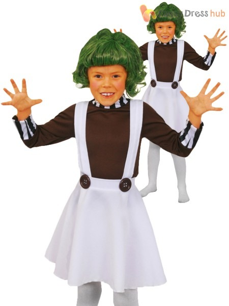 Childrens Oompa Loompa Costume Boys Girls Charlie Chocolate