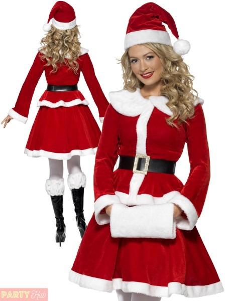 Womens Santa Costume & Womens Sleeveless Crop Top And Skirt Sexy