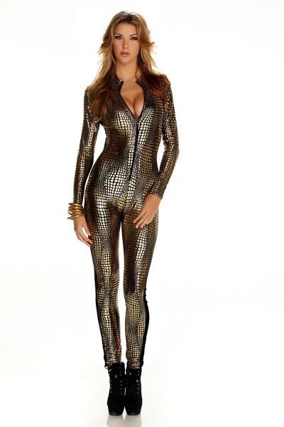 Adult Reptile Metallic Women Bodysuit Costume
