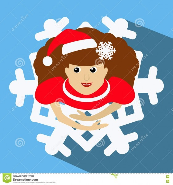 The Girl Mrs  Santa Claus In A Red Cap With Snowflake In Hair  The