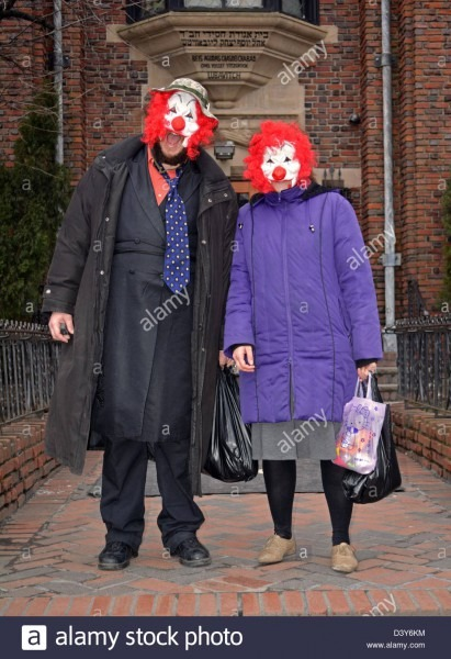 Hasidic Jewish Couple In Costume For The Purim Holiday In The