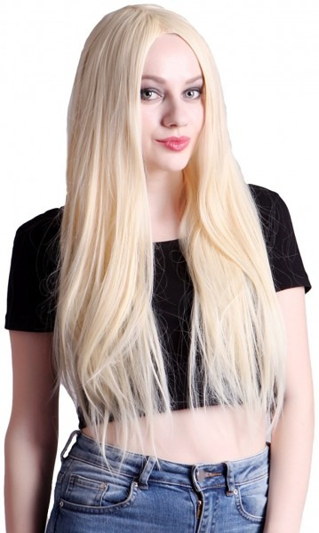 Hde Women's Long Straight Platinum Blonde Wig Hair Style For