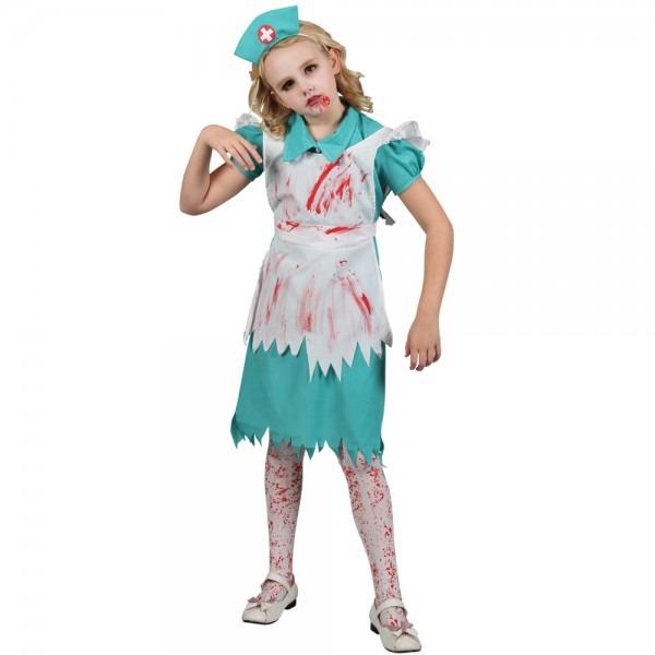 Girls' Zombie Nurse Fancy Dress Costume