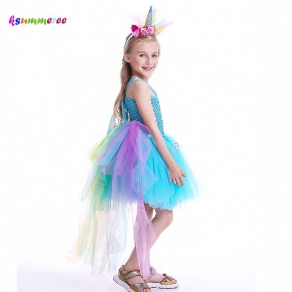 2019 Pony Rainbow Dash Inspired Girls Tutu Dress With Tail