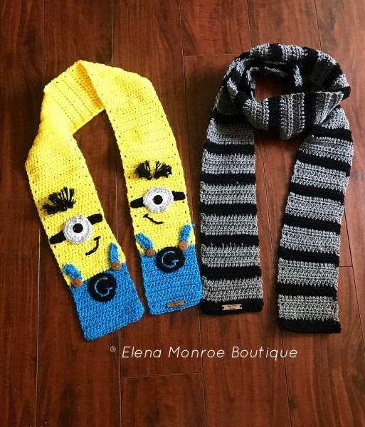 Despicable Me Scarf Crochet Minion Scarf Crochet Gru Scarf
