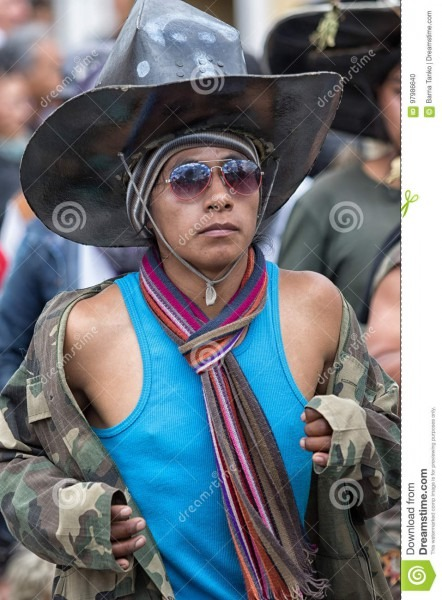 Kichwa Men Wearing Oversized Sombrero Editorial Image