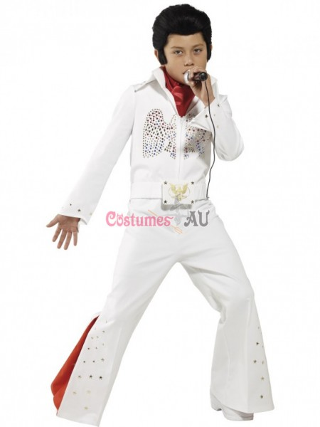 Kids Elvis Presley Jumpsuit Boys Costume 1950's Rock Star Famous
