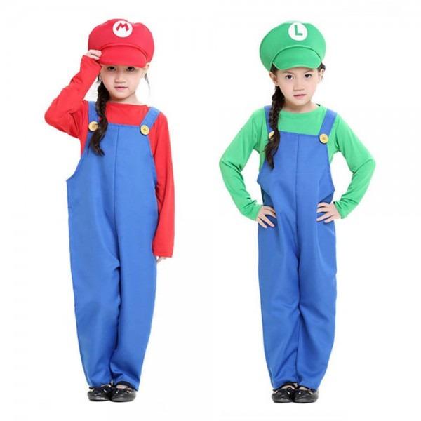 Kids Super Mario Costume Red Mario Green Luigi Cosplay, Super